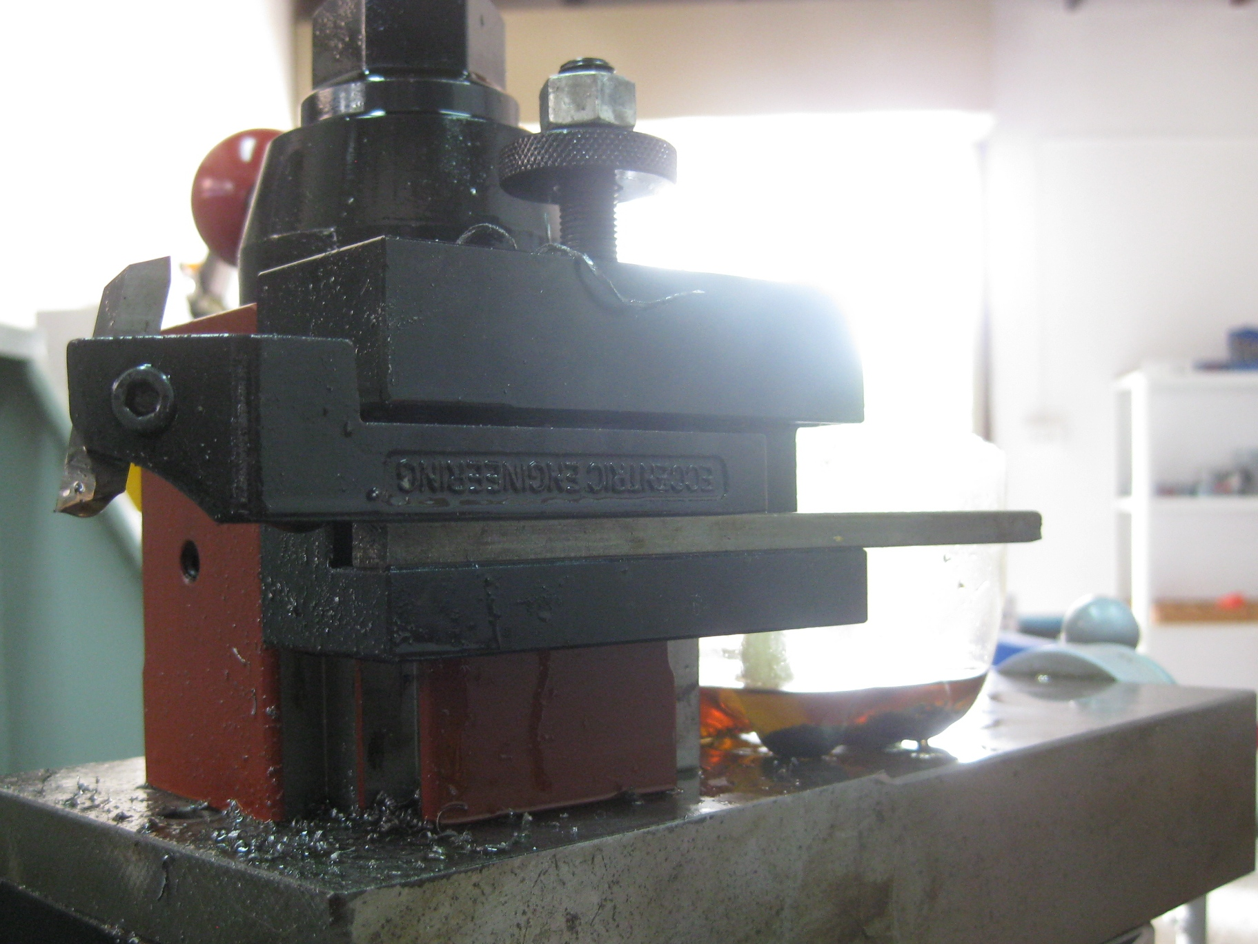 Image showing The Complete Lathe Screwcutting Tool Bit in Upside-Down Holder