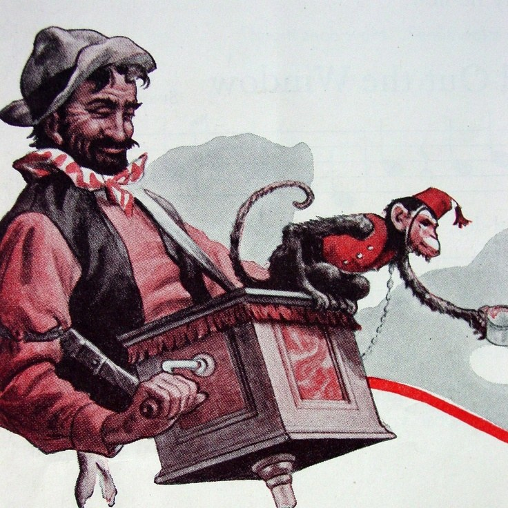 Image of Street Busker Barrel Organ Monkey