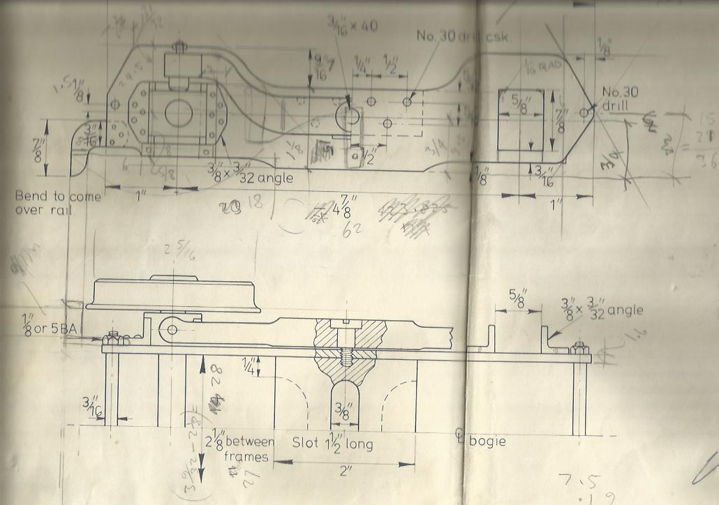 """Image of Original LBSC 3 1/2"""" Gauge """"Doris"""" Bogie Drawing"""