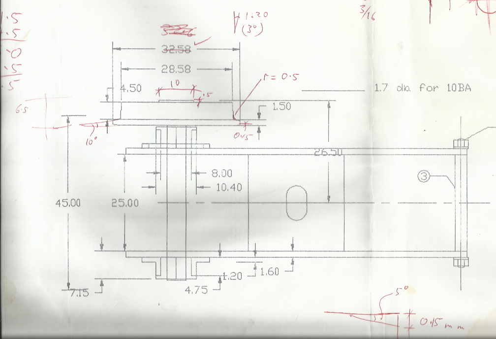 Print out of CAD Drawing Of The Gauge One Bogie Showing Wheel Profile Angles