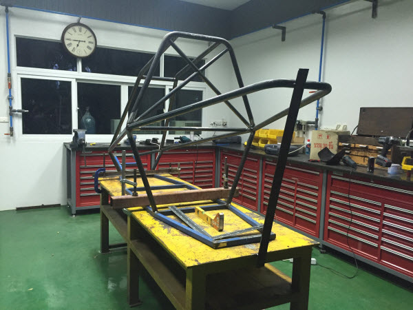 photo of the Tubular Roll Cage Structure Taking Shape