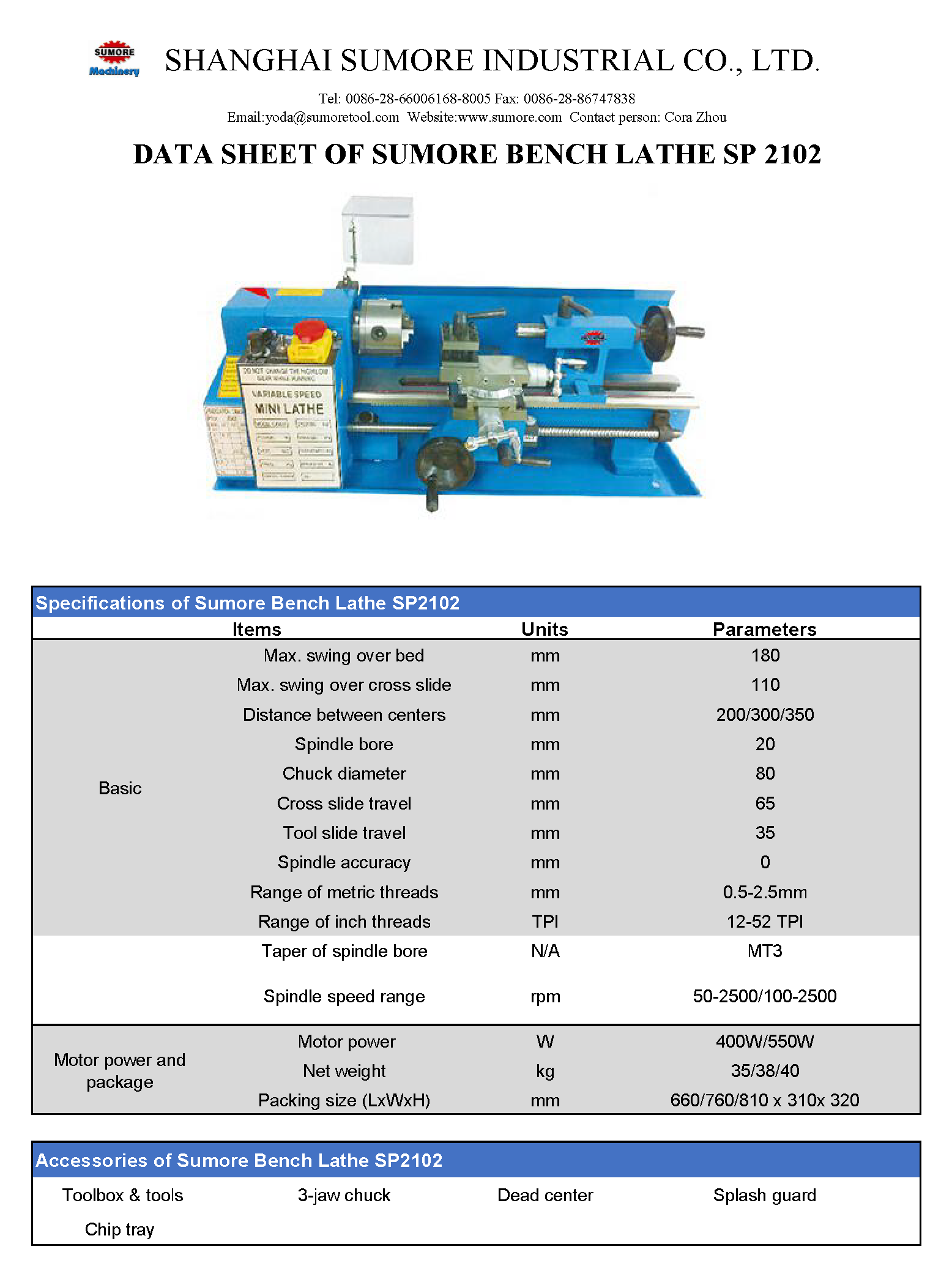 Image showing Shanghai Sunmore SP2102 Mini Bench Lathe Specifications